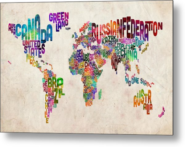 Text Map Of The World Metal Print