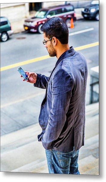 Man Texting Metal Print
