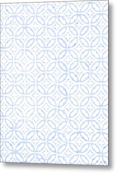 Textured Blue Diamond And Oval Pattern Metal Print