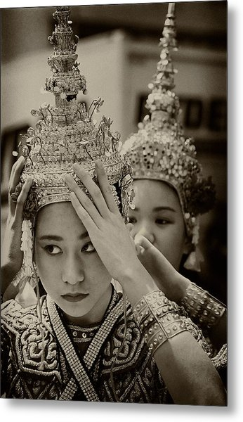 Thai Dancers Preparing Metal Print