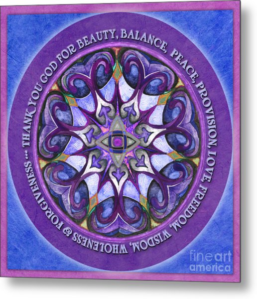 Thank You God Mandala Prayer Metal Print