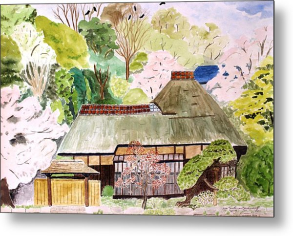 Thatched Japanese House Metal Print
