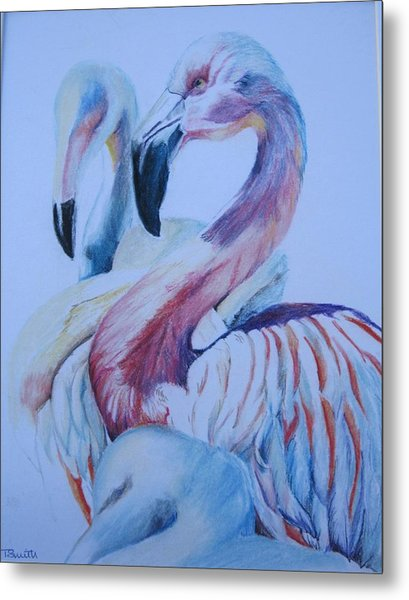 The 3 Flamingos Metal Print