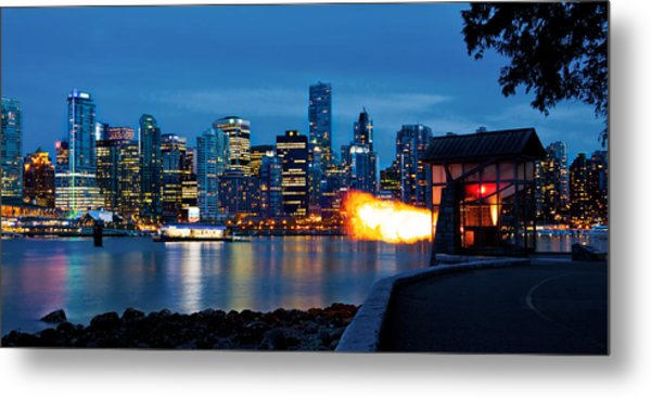 The 9 O'clock Gun In Vancouver Metal Print