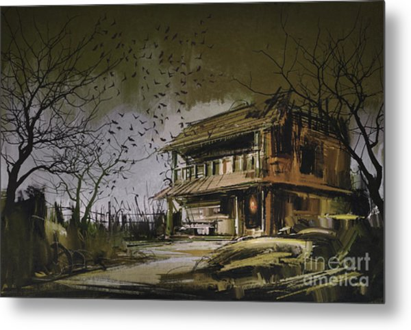 Metal Print featuring the painting The Abandoned House by Tithi Luadthong