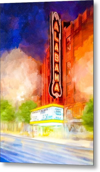 The Alabama Theatre By Night Metal Print