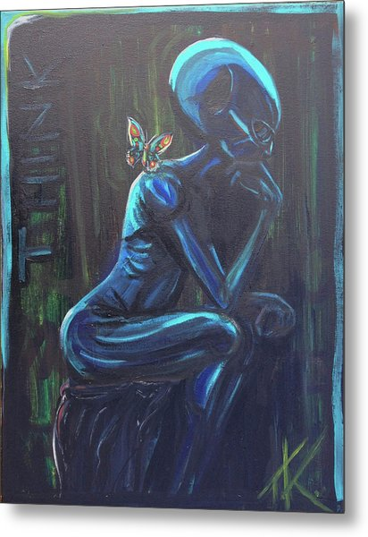 The Alien Thinker Metal Print