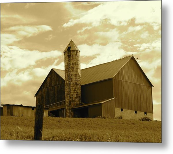 The Amish Silo Barn Metal Print