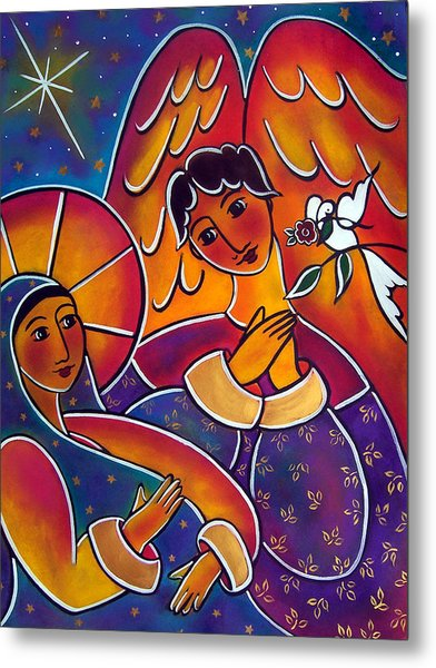 Metal Print featuring the painting The Annunciation by Jan Oliver-Schultz