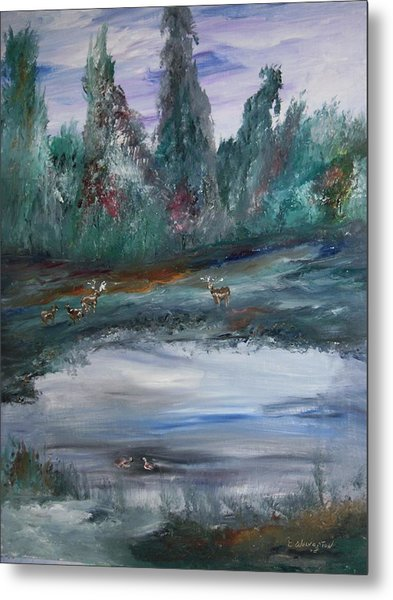 The Backwaters Pond Metal Print by Edward Wolverton