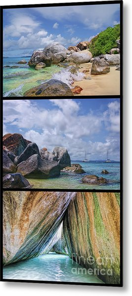 The Baths Virgin Gorda National Park Triptych Metal Print