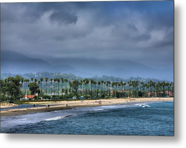 The Beach At Santa Barbara Metal Print