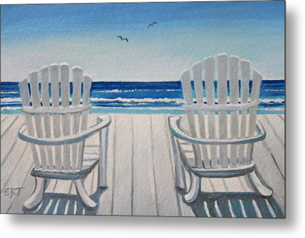The Beach Chairs Metal Print
