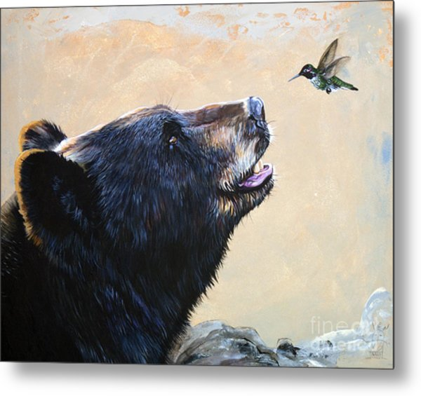 The Bear And The Hummingbird Metal Print