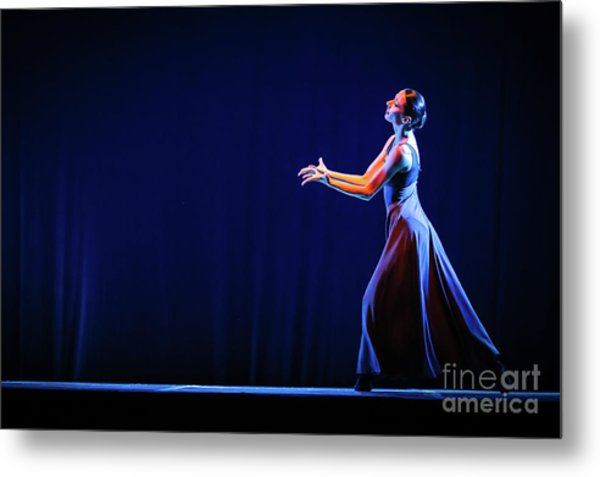 Metal Print featuring the photograph The Beautiful Ballerina Dancing In Blue Long Dress by Dimitar Hristov