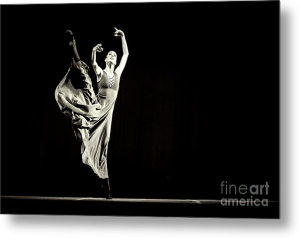 Metal Print featuring the photograph The Beautiful Ballerina Dancing In Long Dress by Dimitar Hristov