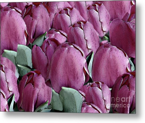 The Beauty And Depth Of A Bed Of Tulips Metal Print