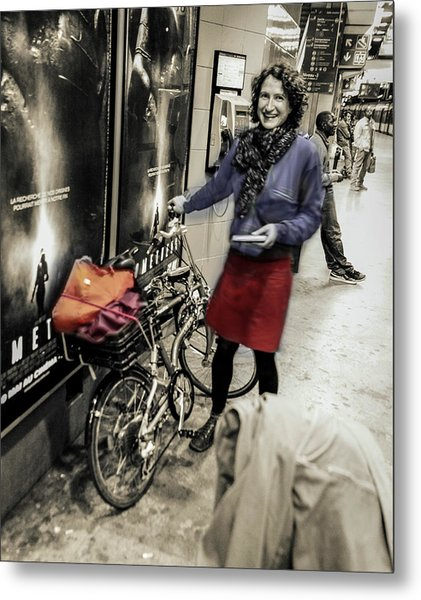 The Bicycle Girl Metal Print