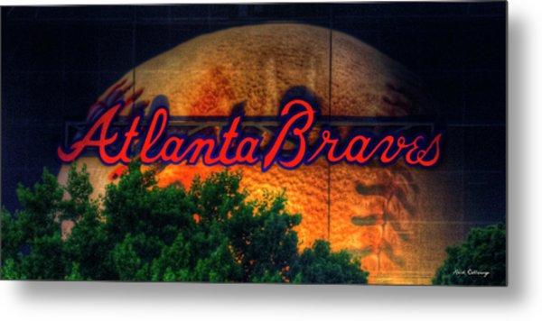 The Big Ball Atlanta Braves Baseball Signage Art Metal Print