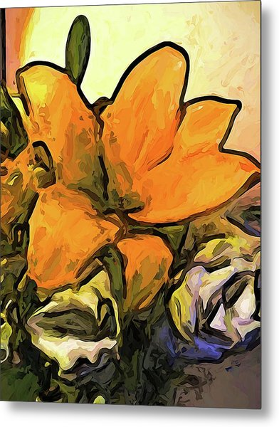 The Big Gold Flower And The White Roses Metal Print