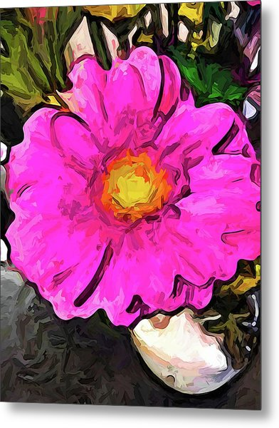 The Big Pink And Yellow Flower In The Little Vase Metal Print