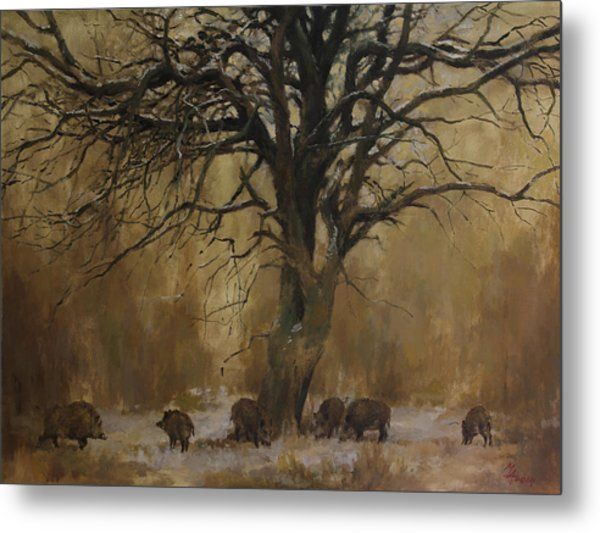 The Big Tree With Wild Boars Metal Print