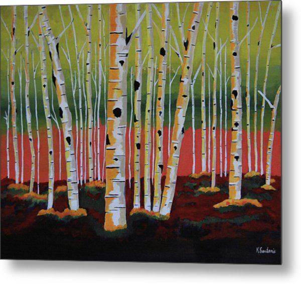 The Birch Forest - Landscape Painting Metal Print