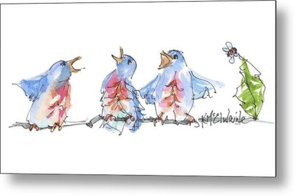 The Birds And The Bee Bird Art Watercolor Painting By Kmcelwaine Metal Print