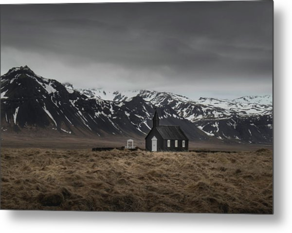 The Black Church, Iceland In Moody Weather Metal Print