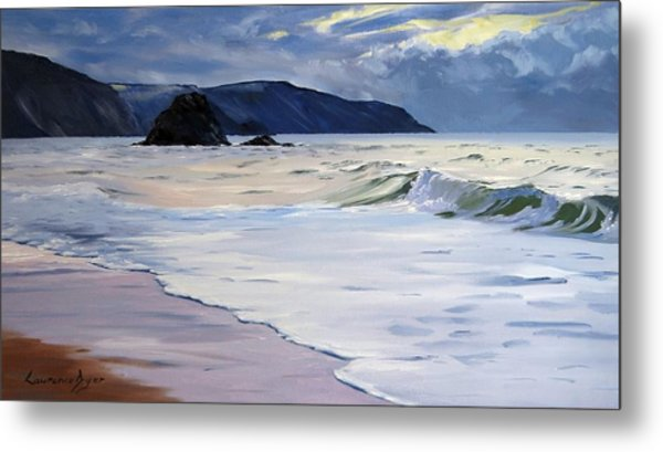 Metal Print featuring the painting The Black Rock Widemouth Bay by Lawrence Dyer