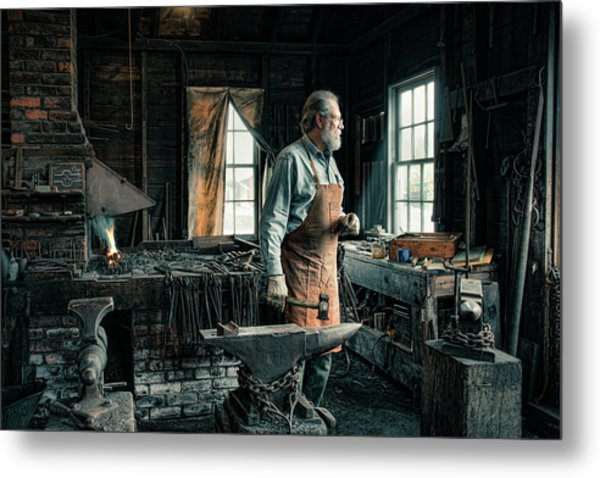 Metal Print featuring the photograph The Blacksmith - Smith by Gary Heller