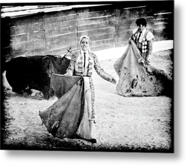 The Blond, The Bull And The Coup De Gras Bullfight Metal Print
