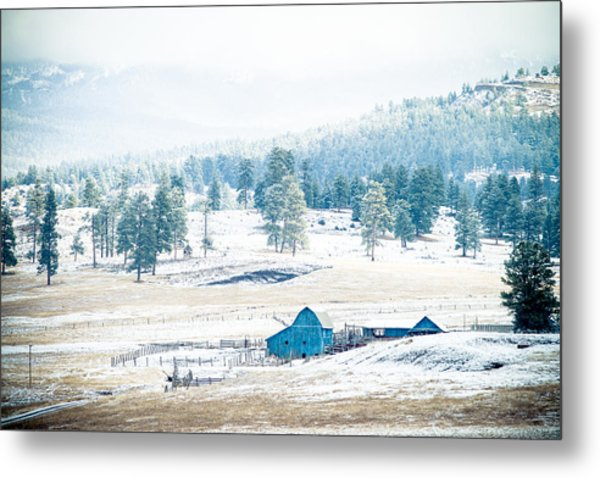 Metal Print featuring the photograph The Blue Barn by Jason Smith