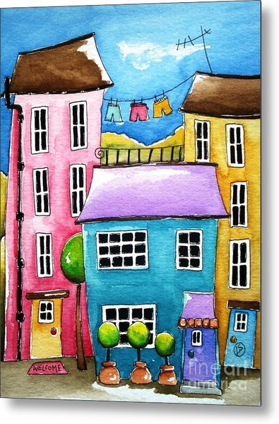 The Blue House Metal Print by Lucia Stewart