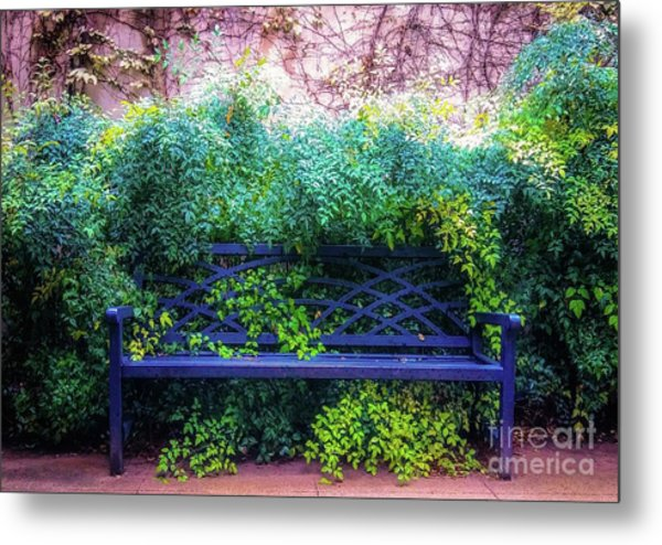 The Blue Park Bench Metal Print