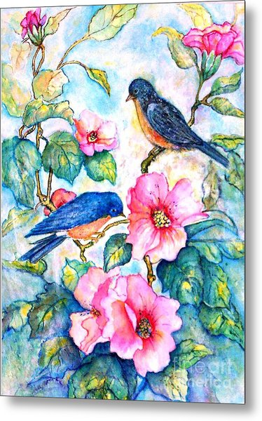 The Bluebirds Are Back Metal Print by Norma Boeckler