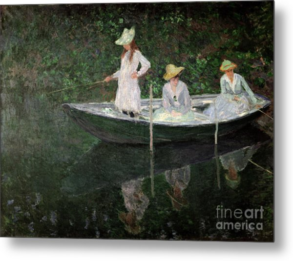 The Boat At Giverny Metal Print