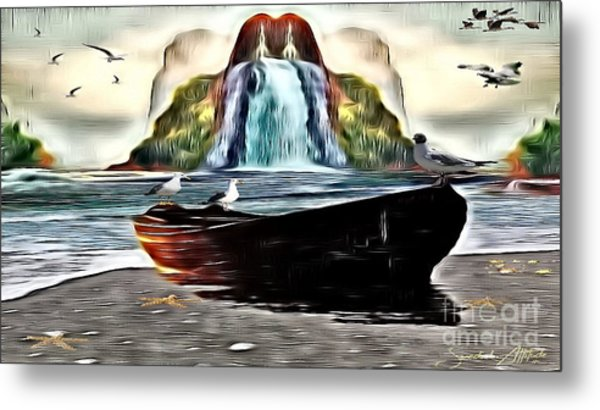 The Boat By The Riverbanks Waterfall Metal Print