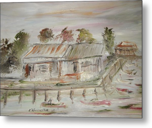 The Boat Dock Metal Print by Edward Wolverton