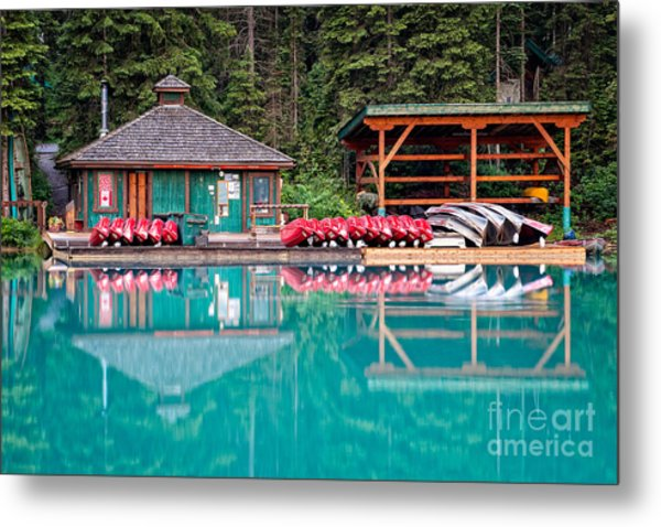 The Boat House At Emerald Lake In Yoho National Park Metal Print