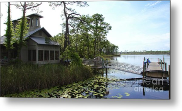 The Boathouse At Watercolor Metal Print