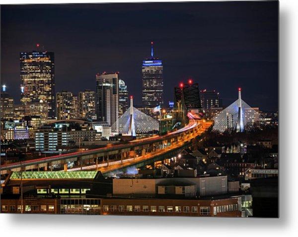 The Boston Skyline Boston Ma Full Zakim Metal Print