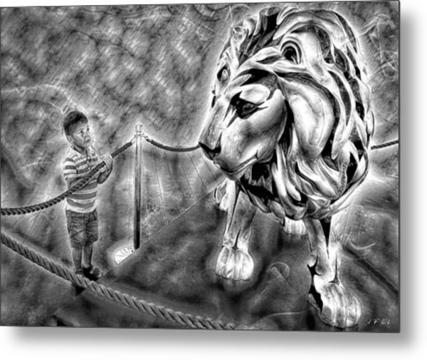 The Boy And The Lion 18 Metal Print