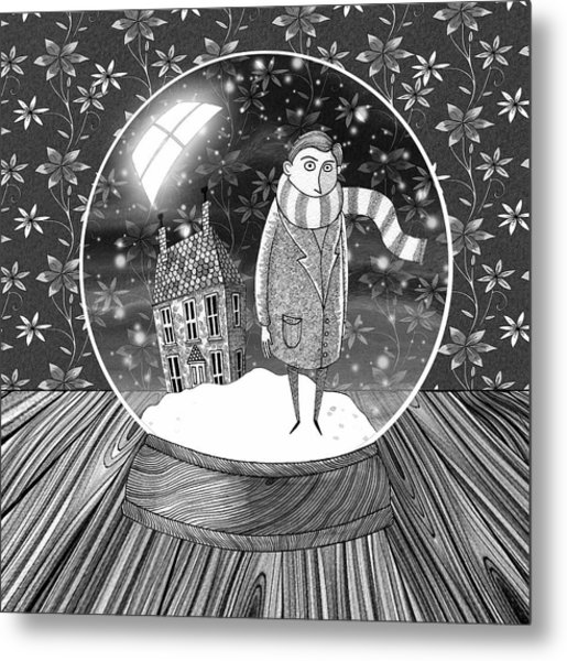 The Boy In The Snow Globe  Metal Print
