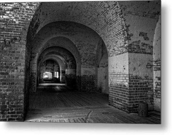 The Bricks Of Fort Pulaski In Black And White Metal Print