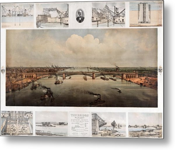 The Bridge At St. Louis, Missouri, Ca. 1874 Metal Print