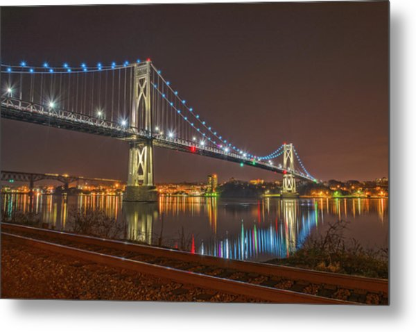 The Bridge With Blue Holiday Lights Metal Print