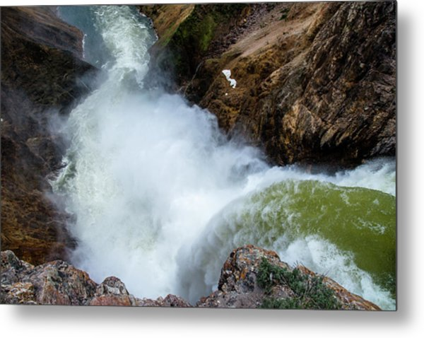 The Brink Of The Lower Falls Of The Yellowstone River Metal Print