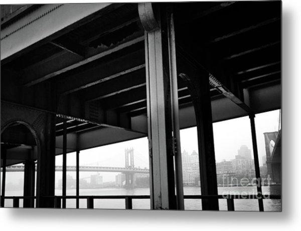 The Brooklyng Bridge And Manhattan Bridge From Fdr Drive Metal Print