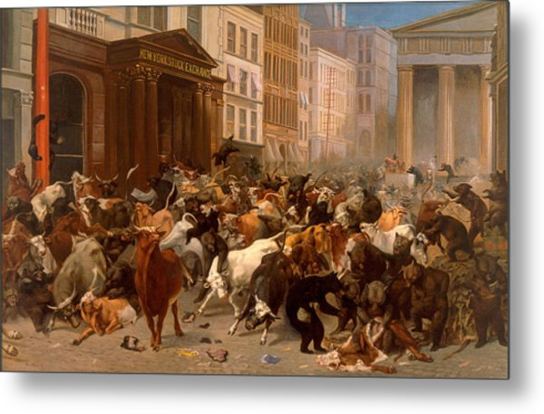 The Bulls And Bears In The Market Metal Print